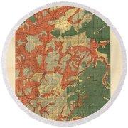Forest Cover Map 1886-87 - Roseburg Quadrangle - Oregon - Geological Map Round Beach Towel