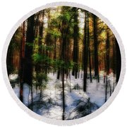 Forest Dawn Round Beach Towel