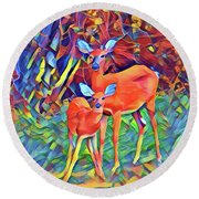 Forest Doe And Fawn Round Beach Towel by Kathy Kelly