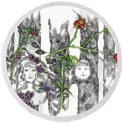 Round Beach Towel featuring the drawing Forest Faces by Cathie Richardson