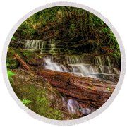 Round Beach Towel featuring the photograph Forest Falls by Christopher Holmes