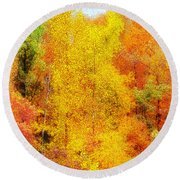 Forest Fire Round Beach Towel by Craig Walters