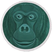 Forest Green Orangutan Round Beach Towel