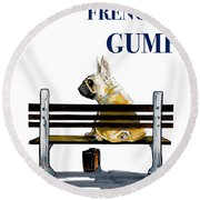 Forest Gump French Bulldog Caricature Art Print Round Beach Towel