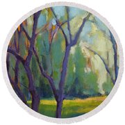 Forest In Spring Round Beach Towel