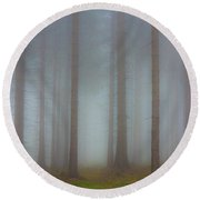 Forest In The Fog Round Beach Towel by Michal Boubin