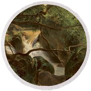 Forest Interior With A Waterfall Papigno Round Beach Towel