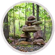 Forest Inukshuk Round Beach Towel