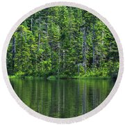 Forest Lake Round Beach Towel
