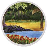 Round Beach Towel featuring the painting Forest Lake by Jamie Frier