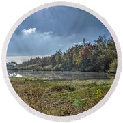 Forest Lake In Autumn Round Beach Towel