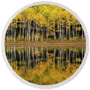 Forest Lake Reflection Round Beach Towel by Dustin LeFevre