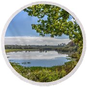 Forest Lake Through The Trees Round Beach Towel