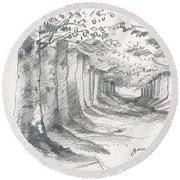 Forest Lane At Gournay Round Beach Towel