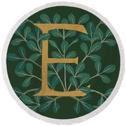 Forest Leaves Letter E Round Beach Towel