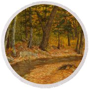 Forest Life Round Beach Towel by Roena King