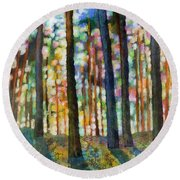 Round Beach Towel featuring the painting Forest Light by Hailey E Herrera