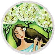 Forest Melody Round Beach Towel