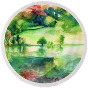 Round Beach Towel featuring the painting Forest Of Dreams by Allison Ashton