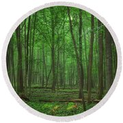 Round Beach Towel featuring the photograph Forest Of Green by Nikki McInnes