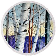 Forest Of Trees Round Beach Towel