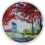 Forest Park Autumn Colors Round Beach Towel