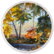 Forest Park - Autumn Reflections Round Beach Towel