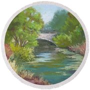Forest Park Bridge Round Beach Towel