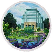 Round Beach Towel featuring the painting Forest Park Jewel Box by Michael Frank