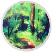 Round Beach Towel featuring the painting Forest Path by Denise Tomasura