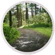 Forest Path. Round Beach Towel