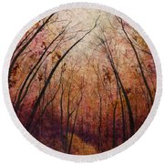 Round Beach Towel featuring the painting Forest Path by Hailey E Herrera