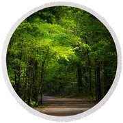 Forest Path Round Beach Towel by Parker Cunningham