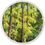 Forest Pathway Round Beach Towel by Alexandra Maria Ethlyn Cheshire