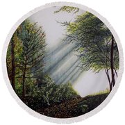 Forest Pathway Round Beach Towel by Judy Kirouac