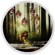 Forest Rain Fantasy Round Beach Towel