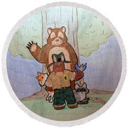 Forest Ranger Pony And Friends Round Beach Towel by Wendy Coulson