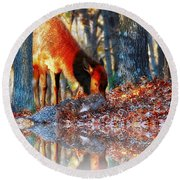 Forest Reflections Round Beach Towel by Steve Warnstaff