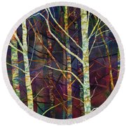 Round Beach Towel featuring the painting Forest Rhythm by Hailey E Herrera