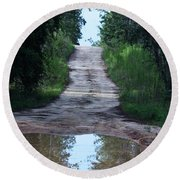 Forest Road And Puddle Round Beach Towel