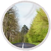 Forest Road Round Beach Towel