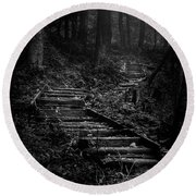 Forest Stairs Round Beach Towel