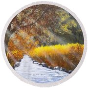 Forest Sunrays Over Water Round Beach Towel