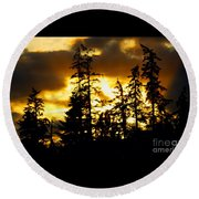 Round Beach Towel featuring the photograph Forest Sunset  by Nick Gustafson