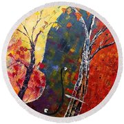 Round Beach Towel featuring the painting Forest Symphony by AmaS Art