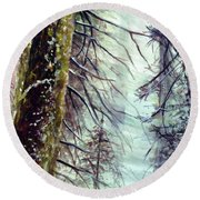 Round Beach Towel featuring the painting Forest Talk by Allison Ashton