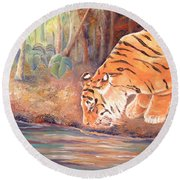 Round Beach Towel featuring the painting Forest Tiger by Elizabeth Lock