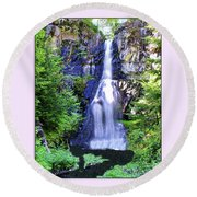 Forest Waterfall Round Beach Towel