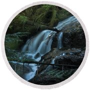 Forest Waterfall. Round Beach Towel