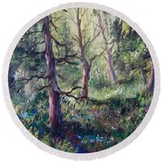 Forest Wildflowers Round Beach Towel by Megan Walsh
